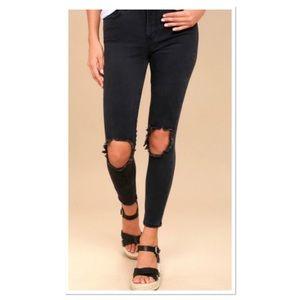 FREE PEOPLE Jeans Distressed Skinny Black Size 26